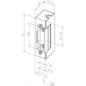 eff-eff electric strike E7R dimensions