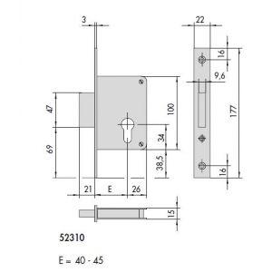 cisa lock 52310 dimensions