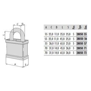 cisa padlock 28050 dimensions