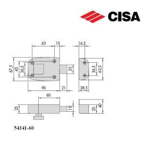 cisa rim lock 54341 dimensions