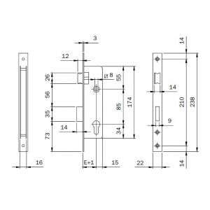 iseo 741 mortice lock dimensions