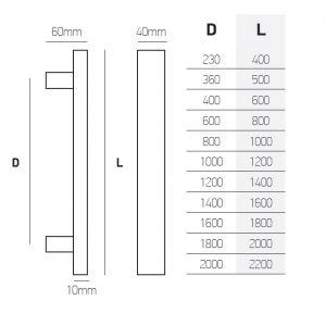 best handle147 inox dimensions