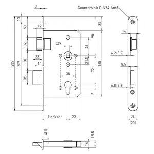 bmh 1013pzw panic lock dimensions