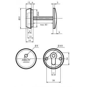 ABLOY defender CH101 dimensions