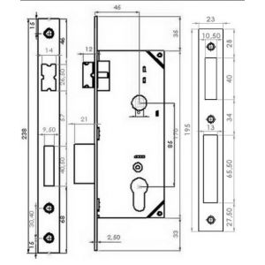 gevy mortice lock cylinder 130-045 dimensions