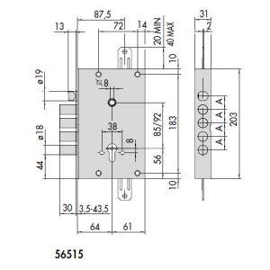 cisa lock 56515-48 dimensions