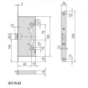cisa 43110 fire door lock dimensions
