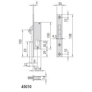 cisa lock 45010 dimensions