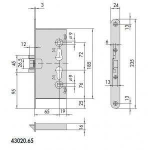 cisa 43020-65 fire door lock dimensions