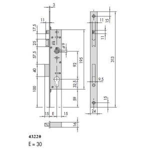 cisa 43220 lock panic function dimensions