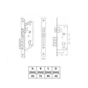 domus lock 90545 dimensions