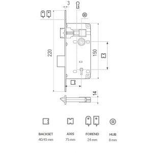 agb Atene lock dimensions