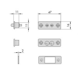 cisa 06510-10 electric contacts dimensions