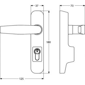 abloy 04480 handle dimensions