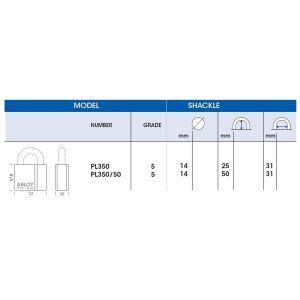 abloy pl350 padlock dimensions