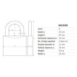 abus 34cs-55 steel padlock dimensions
