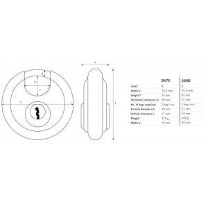 abus diskus 20-70 padlock dimensions