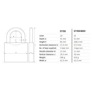 abus granit 37-55 padlock dimensions (new)