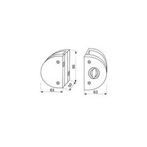 010a glass door lock dimensions