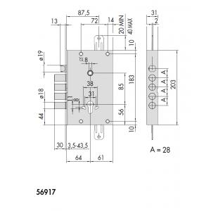 cisa 56917 exitlock armoured door lock panic_dimensions